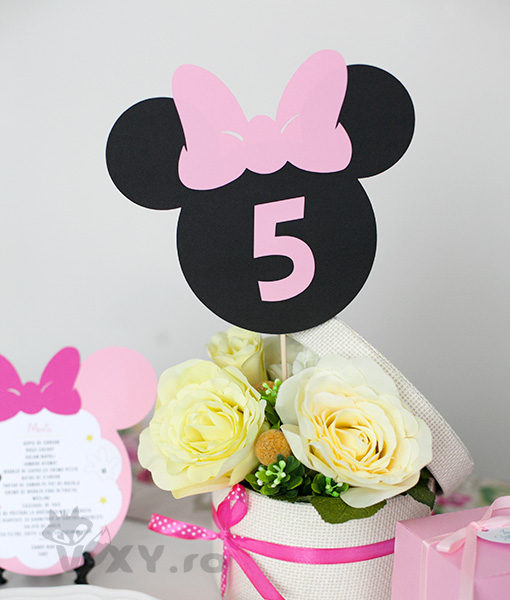 numar masa Minnie Mouse, petrecere tematica Minnie, nr masa Minnie, botez Minnie