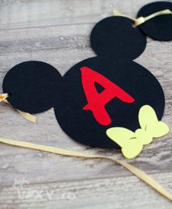 ghirlanda Mickey Mouse, ghirlanda personalizata nume bebelus, ghirlanda personalizata Mickey, ghirlanda petrecere Mickey, produse petreceri tematice Mickey