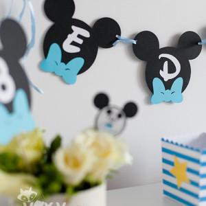 ghirlanda Mickey, candy bar tema Mickey, Mickey Mouse, petreceri tematice, papetarie personalizata, papetarie petreceri, vixy.ro, ghirlanda personalizata Mickey, Minnie