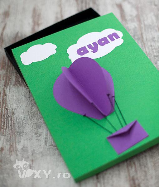 cutie cadou personalizata, cutie handmade, cutie baloane aer cald, cutie personalizare nume