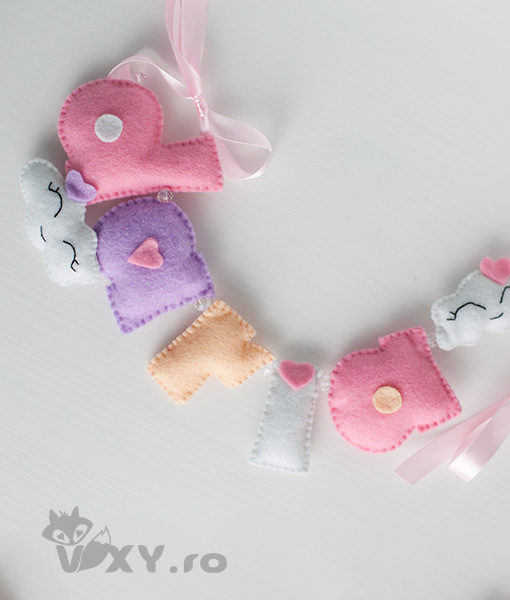 ghirlanda fetru personalizata, tema norisori, ornament nume norisori, tema norisori, cadou handmade bebelusi, vixy.ro, ghirlanda tematica norisori