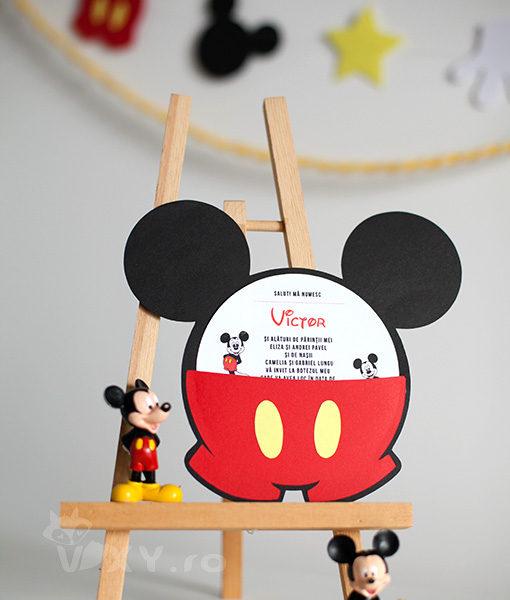 invitatie Mickey Mouse, invitatie botez Mickey, invitatie personalizata Mickey Mouse, invitatie botez deosebita Mickey, Mickey Mouse, petreceri tematice Mickey