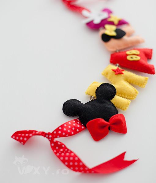 ornament nume Mickey Mouse, ornament nume fetru, bebe Mickey, decoratiune tema Mickey, Mickey personalizat, nume personalizat Mickey