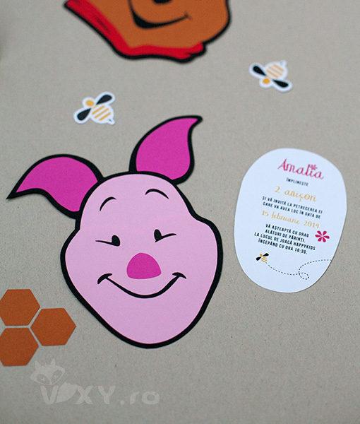 Invitatie handmade Piglet, Winnie the Pooh