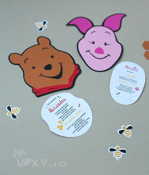 Invitatie handmade Piglet, Invitatie handmade Winnie the Pooh