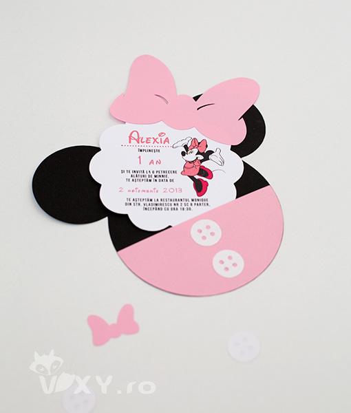 invitatie Minnie Mouse, invitatie handmade Minnie, Minnie Mouse, invitatie botez Minnie Mouse