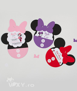 invitatie Minnie Mouse, invitatie handmade Minnie, Minnie Mouse, invitatie botez Minnie Mouse