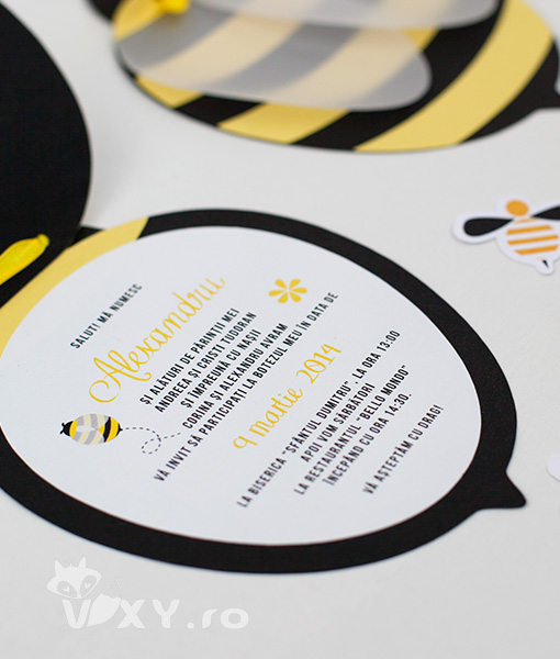 invitatie handmade albinuta, invitatie albinuta, invitatii botez albinute, invitatie botez albinuta, invitație albinuțe