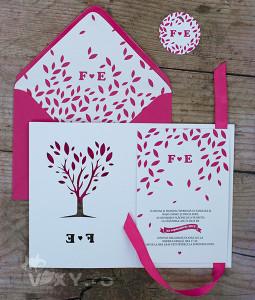 invitatie nunta, invitatie personalizata, invitatie fucsia, invitatie copac, plic personalizat, invitatie nunta decupata
