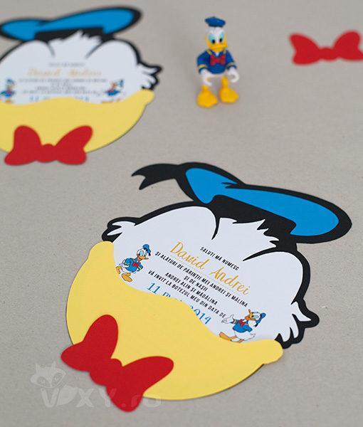 Invitatie botez, invitatie Donald Duck, invitatie handmade botez, invitatie Donald, invitatie ratoiul Donald