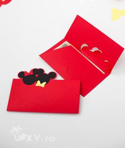 Plic pentru dar Mickey si Minnie, Plic pentru bani botez Mickey, Plic Minnie, Plic Mickey, Plic handmade Mickey