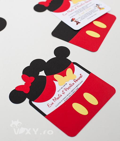 Invitatie Minnie si Mickey, invitatie handmade Minnie, invitatie handmade Mickey, invitatii handmade botez, invitatii gemeni, invitatie gemeni, invitatie personalizata