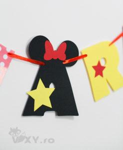 ghirlanda personalizata Minnie Mouse, ghirlanda nume bebelusi Minnie, ghirlanda Minnie, produse petrecere tema Minnie, petrecere tematica Minnie Mouse