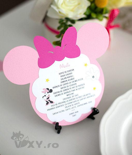 meniu botez tema Minnie, meniu tematic Minnie Mouse, meniu botez personalizat Minnie, petrecere tematica Minnie, produse tematice botez, Minnie Mouse roz