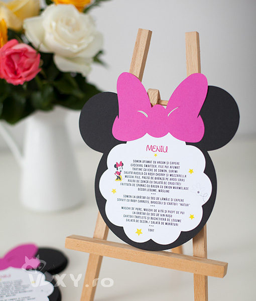 meniu botez tema Minnie, meniu tematic Minnie Mouse, meniu botez personalizat Minnie, petrecere tematica Minnie, produse tematice botez, Minnie Mouse fucsia