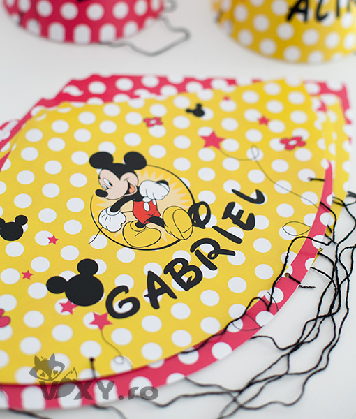 coif personalizat Mickey Mouse si Minnie Mouse, coif petrecere, coif Mickey, coif Minnie, petreceri tematice Minnie si Mickey