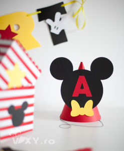 coif personalizat Mickey Mouse, coif petrecere, coif Mickey, coif Minnie, petreceri tematice Minnie si Mickey, coif realizat manual