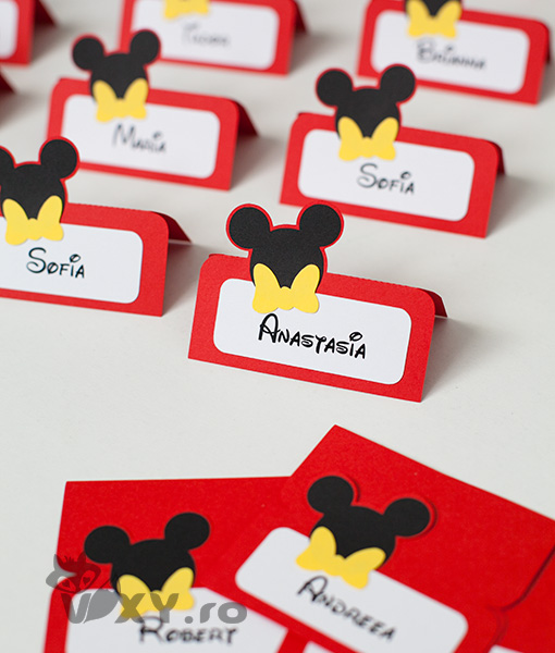 place card Mickey, place card personalizat Mickey, tema botez Mickey Mouse, petreceri tematice Mickey, vixy.ro, Mickey Mouse, place card botez Mickey, place card handmade