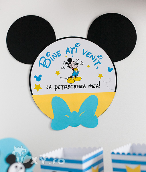 Mickey Mouse intrare, bine ati venit la petrecerea mea, panou intrare personalizat Mickey, vixy.ro, Mickey Mouse, petreceri tematice Mickey, papetarie personalizata botez