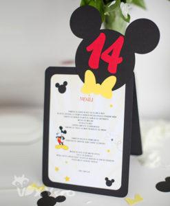 meniu Mickey, meniu botez, meniu personalizat Mickey, meniu si numar masa botez Mickey, meniu si numar masa botez tematic, papetarie botez, papetarie personalizata, vixy.ro, meniu si numar masa 2 in 1