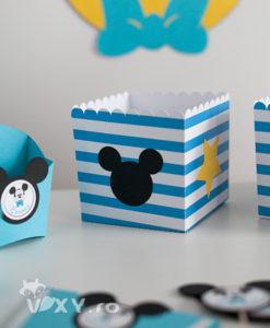 cutie popcorn Mickey, cutie Mickey, cutie candy bar tema Mickey, Mickey Mouse, petreceri tematice, papetarie personalizata, papetarie petreceri, vixy.ro, cutii personalizate Mickey, Minnie