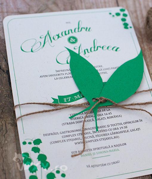 invitatie nunta, invitatie personalizata, invitatie lacramioare, invitatie verde, invitatie nunta deosebita, vixy.ro, lacramioare, invitatie personalizata tematic, nunta tematica lacramioare