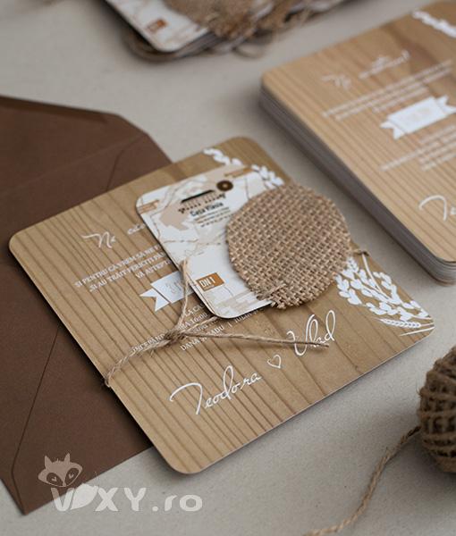 invitatie nunta deosebita, invitatie nunta personalizata, invitatie nunta textura lemn, invitatie nunta lemn si iuta, invitatie nunta handmade, nunta tematica lemn si iuta, vixy.ro, invitatii evenimente personalizate, invitatii lemn si iuta, invitatii speciale