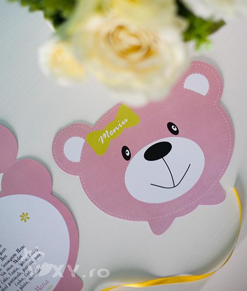 meniu petrecere ursulet, meniu botez personalizat ursulet, botez cu ursuleti pentru fetite, vixy.ro, papetarie petrecere personalizata, botez fetita ursulet, meniu personalizat botez, botez tematic