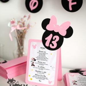 meniu Minnie, meniu botez, meniu personalizat Minnie Mouse, meniu si numar masa botez Minnie, meniu si numar masa botez tematic, papetarie botez, papetarie personalizata, vixy.ro, meniu si numar masa 2 in 1, Minnie Mouse