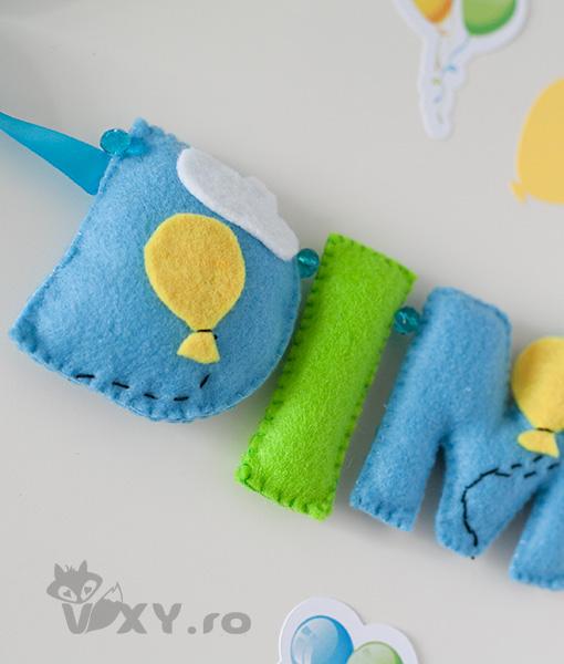 ghirlanda fetru personalizata, tema baloane, ornament nume baloane, tema baloane, cadou handmade bebelusi, vixy.ro, ghirlanda tematica baloane colorate