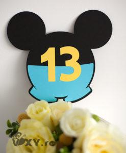 numar masa Mickey, numar masa botez, botez personalizat, papetarie petrecere, papetarie botez Mickey, numar de masa special, numar de masa pentru botez, vixy.ro, tema botez Mickey, botez Mickey Mouse